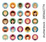 set of diverse round avatars... | Shutterstock .eps vector #285662774