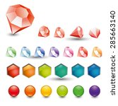 set of colored crystals and... | Shutterstock .eps vector #285663140
