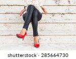 lady with red high heel shoes... | Shutterstock . vector #285664730