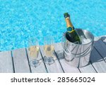 Cold Champagne Bottle In Ice...