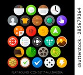 flat round icon set 7 multimedia | Shutterstock .eps vector #285679364