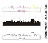sendai skyline linear style... | Shutterstock .eps vector #285680438