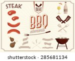 bbq vector elements | Shutterstock .eps vector #285681134