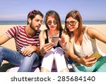 friends on the beach having fun ... | Shutterstock . vector #285684140