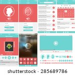 vector ui mobile app set flat...