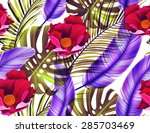 seamless tropical flower  plant ... | Shutterstock . vector #285703469