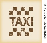 grungy brown icon with taxi...