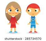girl boy cartoon character... | Shutterstock .eps vector #285734570