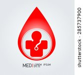 red blood drop and medical... | Shutterstock .eps vector #285737900