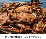a basket of just steamed... | Shutterstock . vector #285744380
