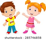 cute cartoon boy and girl | Shutterstock . vector #285746858