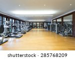 Fitness center interior. Gym - stock photo