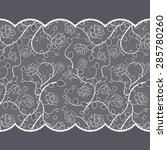lace pattern with roses on gray ... | Shutterstock . vector #285780260
