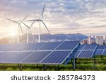 solar panels and wind turbines... | Shutterstock . vector #285784373