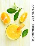 orange smoothie in glass  top... | Shutterstock . vector #285787670