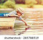 little boy launch paper ship... | Shutterstock . vector #285788519