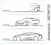set of luxury car silhouettes.... | Shutterstock .eps vector #285789710