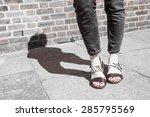 model wearing black and white... | Shutterstock . vector #285795569