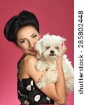 Beautiful Girl With A Dog  ...