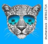 Hand Drawn Portrait Of Leopard...