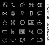 contact line icons on black... | Shutterstock .eps vector #285830930