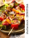 skewers of salmon and vegetables | Shutterstock . vector #285839366