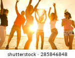 silhouette of people dancing on ... | Shutterstock . vector #285846848