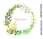 watercolor herbs and flowers ... | Shutterstock .eps vector #285851054