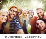 diverse summer friends fun... | Shutterstock . vector #285854450