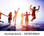 friendship freedom beach summer ... | Shutterstock . vector #285854864