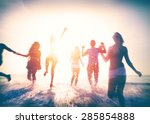 friendship freedom beach summer ... | Shutterstock . vector #285854888