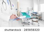 doctor writing a medical... | Shutterstock . vector #285858320