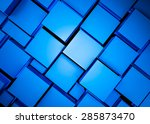 Abstract 3d Rendered Blue Cube...