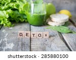 fresh green smoothie.detox... | Shutterstock . vector #285880100