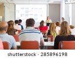 speaker giving presentation in... | Shutterstock . vector #285896198