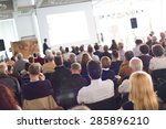 speaker giving a talk at... | Shutterstock . vector #285896210