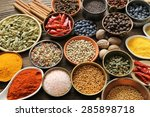 aromatic spices in metal and... | Shutterstock . vector #285898718