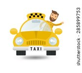 yellow taxi car and taxi driver ... | Shutterstock .eps vector #285899753