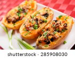 stuffed potato with chicken and ... | Shutterstock . vector #285908030