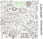 garden themed doodle set.... | Shutterstock .eps vector #285914873