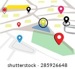 map and navigation map  | Shutterstock .eps vector #285926648