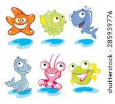 Stock vector vector animals big eyes animals cute animals sea world 285939776