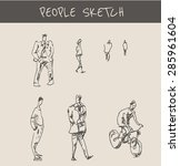 people drawing with man and... | Shutterstock .eps vector #285961604