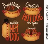 set of cartoon hotdog logo... | Shutterstock .eps vector #285974159