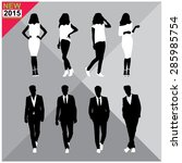 set of men and women black... | Shutterstock .eps vector #285985754