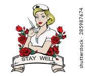 vector color tattoo nurse... | Shutterstock .eps vector #285987674