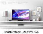 modern white shelf with flat tv ... | Shutterstock .eps vector #285991766