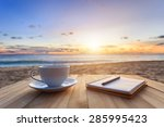 close up coffee cup on wood... | Shutterstock . vector #285995423