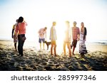 diverse beach summer friends... | Shutterstock . vector #285997346