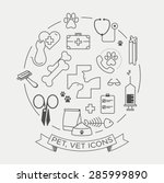 vector graphic icon set of vet... | Shutterstock .eps vector #285999890